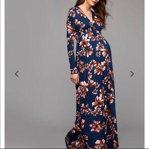 Rachel Pally Floral Print Long Sleeve Maxi Dress L